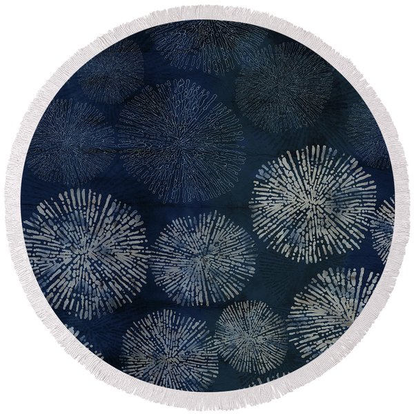 Shibori Sea Urchin Burst Pattern Dark Denim Round Beach Towel
