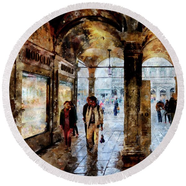 Shopping Area Of Saint Mark Square In Venice, Italy - Watercolor Effect Round Beach Towel