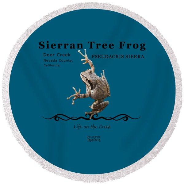 Sierran Tree Frog Pseudacris Sierra Round Beach Towel