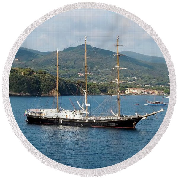 Signora Del Vento, Anchored At Portoferraio, Elba Round Beach Towel