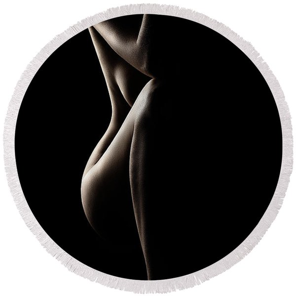 Silhouette Of Nude Woman Round Beach Towel
