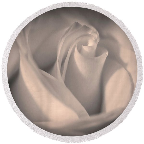 Silky Pastel Rose Round Beach Towel