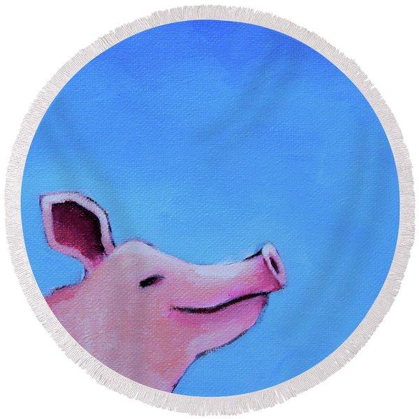 Smiling Pig Round Beach Towel