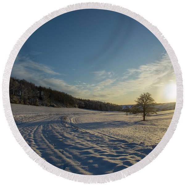 Snow And Sunset Round Beach Towel