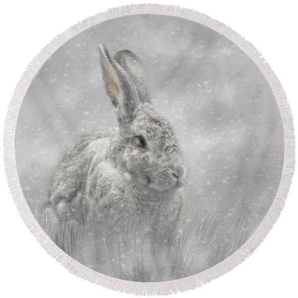 Snow Bunny Round Beach Towel
