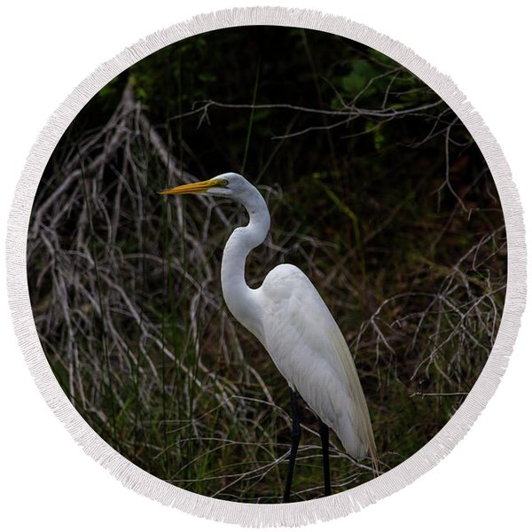 Great Egret On A Hot Summer Day Round Beach Towel
