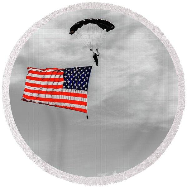 Socom Flag Jump In Selective Color Round Beach Towel
