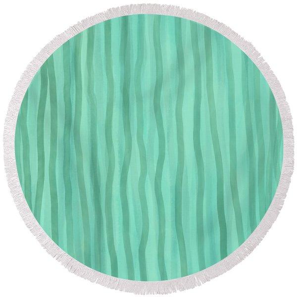Soft Green Lines Round Beach Towel
