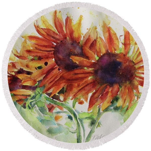 Soulflowers Round Beach Towel