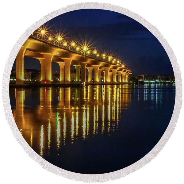 Starburst Bridge Reflection Round Beach Towel