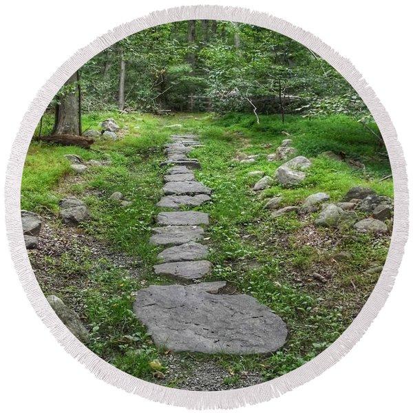 Stepping Stone Path - Kinnelon Round Beach Towel
