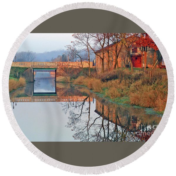 Still Waters On The Canal Round Beach Towel