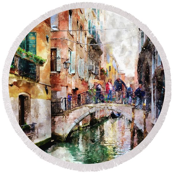 People On Bridge Over Canal In Venice, Italy - Watercolor Painting Effect Round Beach Towel