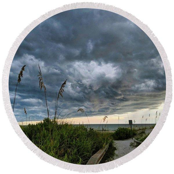Stormy Sunset Round Beach Towel