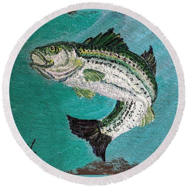 Striper #2 Round Beach Towel