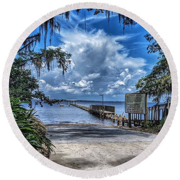 Strolling By The Dock Round Beach Towel