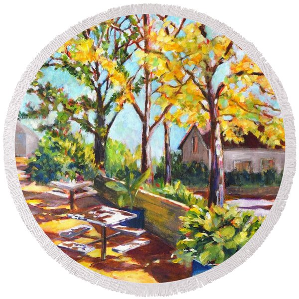 Summer In Edwards Garden, Toronto Round Beach Towel