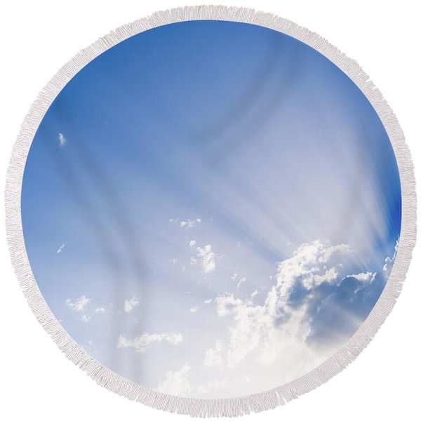 Sunbeams Rising From A Large Cloud In Intense Blue Sky On A Summer Afternoon Round Beach Towel