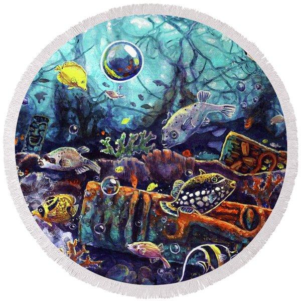 Sunken Tiki Reef Round Beach Towel