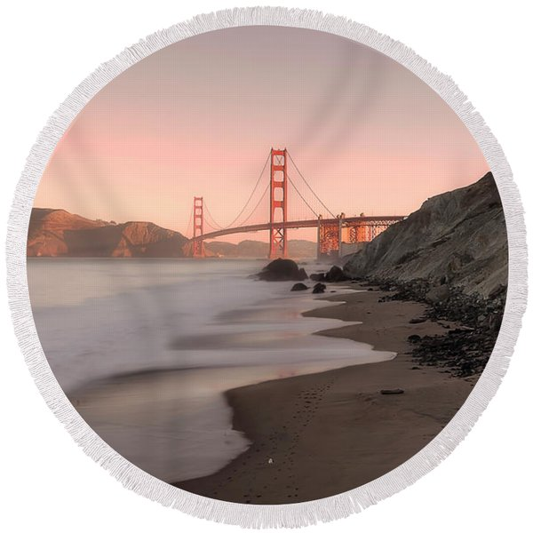 Sunrise In San Fransisco- Round Beach Towel