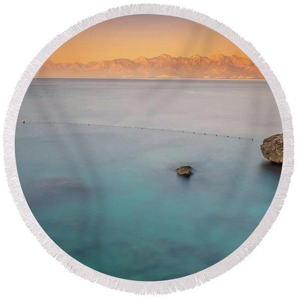 Sunrise In Turkey Round Beach Towel