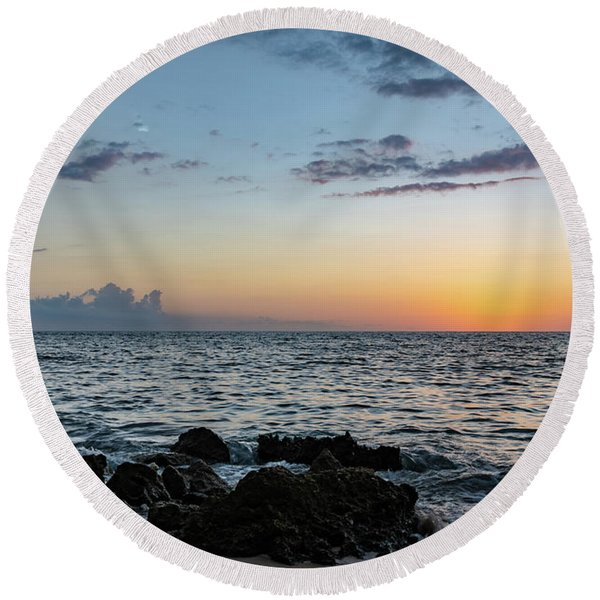 Sunset Afterglow In Negril Jamaica Round Beach Towel