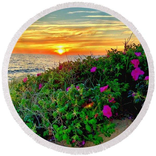 Sunset At Campground Beach  Round Beach Towel