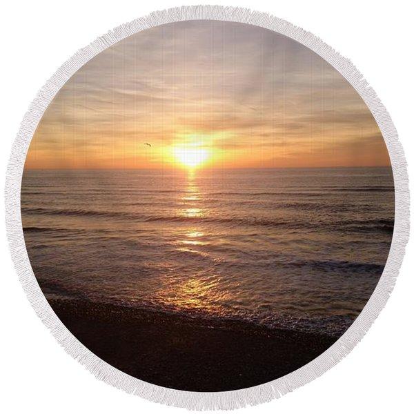 Sunset Blackpool Round Beach Towel
