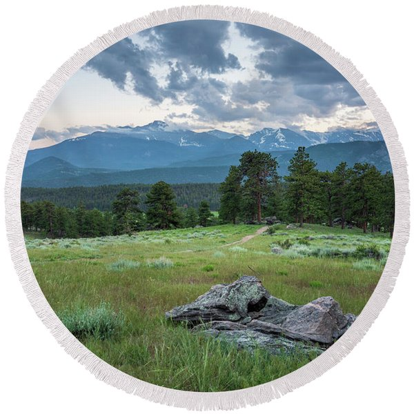Sunset In Rocky Mountain National Park  Round Beach Towel