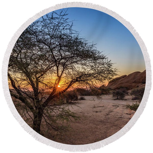 Sunset In Spitzkoppe, Namibia Round Beach Towel