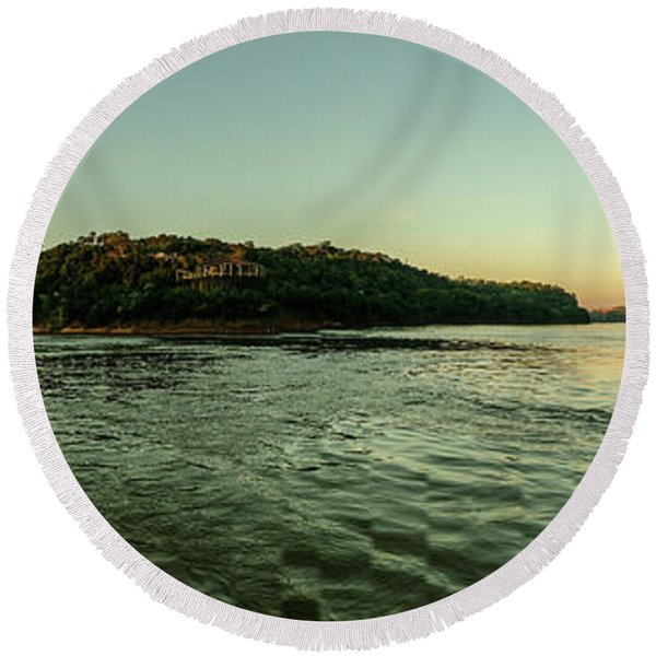 Sunset River Confluence Round Beach Towel
