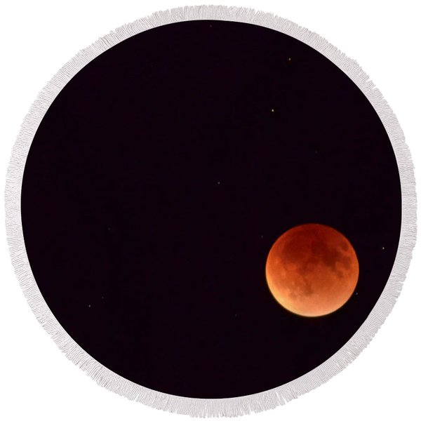 Round Beach Towel featuring the photograph Super Harvest Blood Moon by Carl Young
