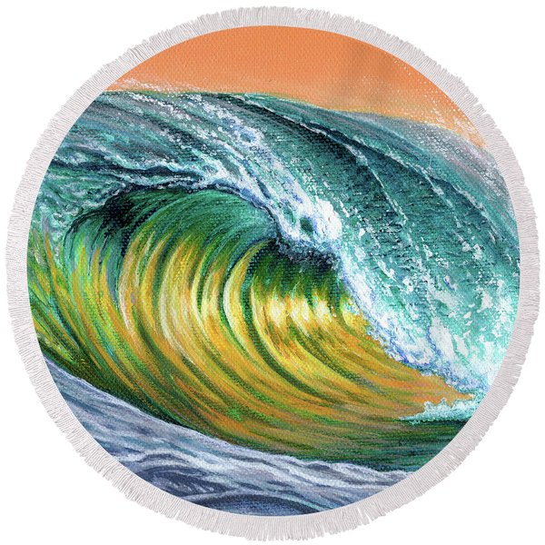 Surf Into The Sunset Round Beach Towel