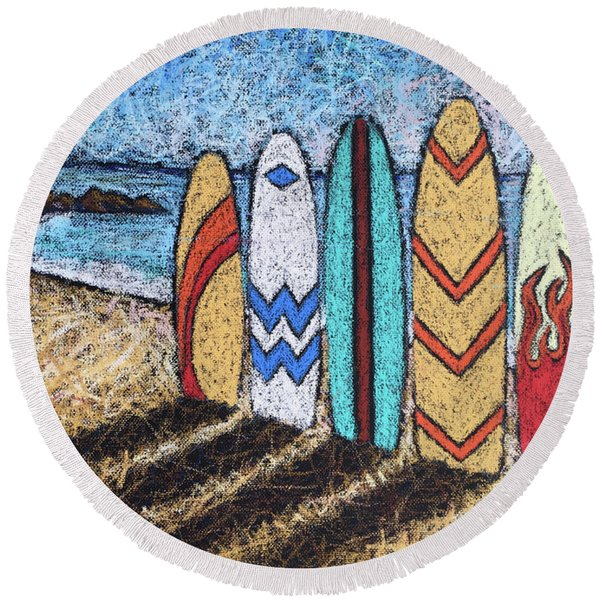 Surfboard Line Up Round Beach Towel