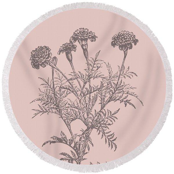 Tagetes Patula Blush Pink Flower Round Beach Towel