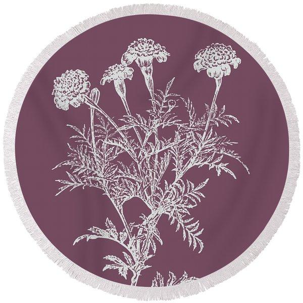 Tagetes Patula Purple Flower Round Beach Towel