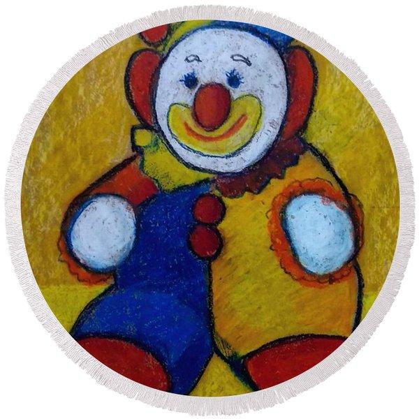 The Clown Round Beach Towel