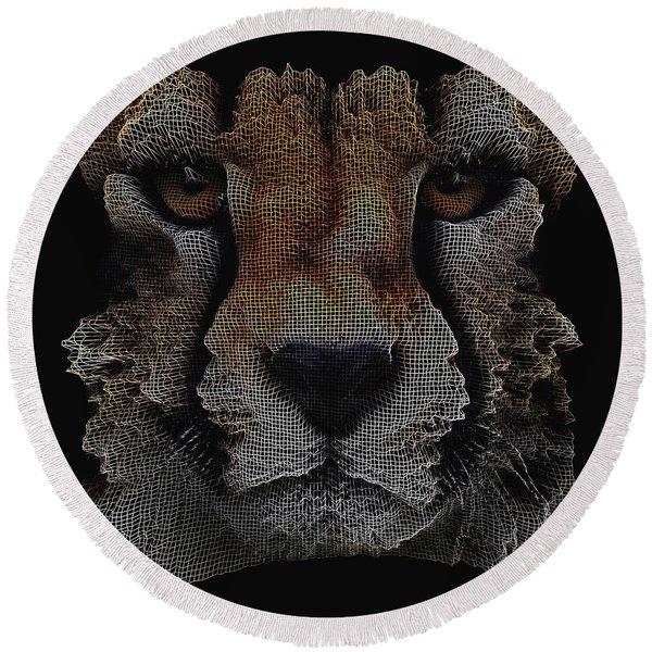 The Face Of A Cheetah Round Beach Towel