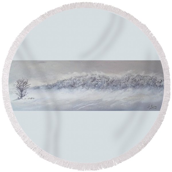 The Front Of Cold Round Beach Towel