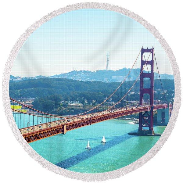 The Golden Gate Bridge I Round Beach Towel