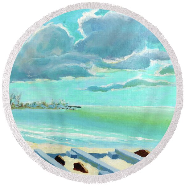 The Gulf, The Clouds, The Pier Round Beach Towel