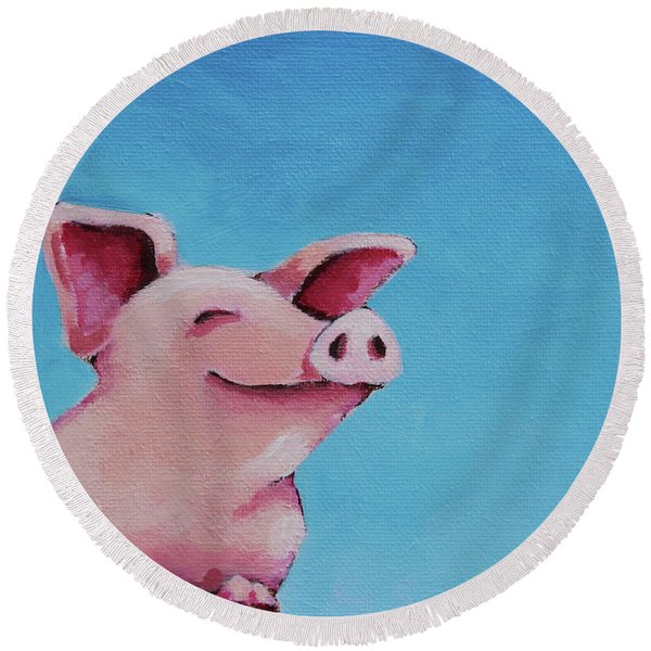 The Happiest Pig Round Beach Towel