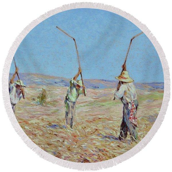 The Haymakers - Pierre Van Dijk 70x90cm Oil Round Beach Towel