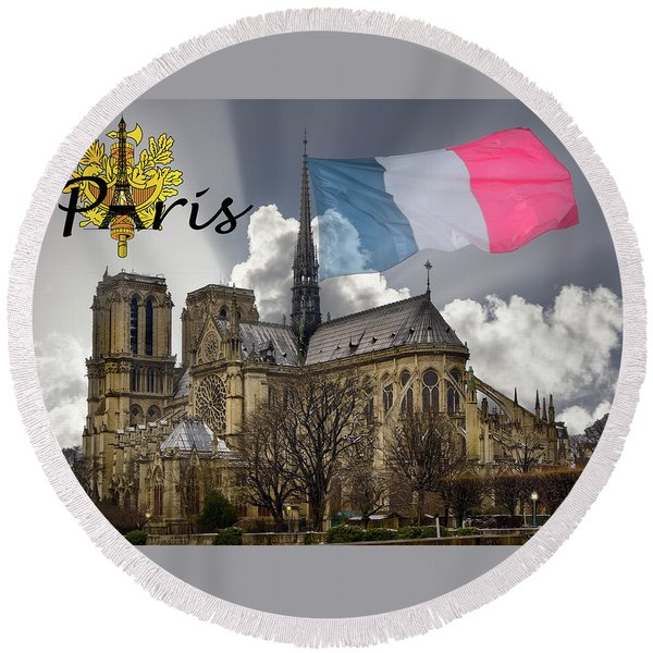 The Iconic Notre Dame De Paris Round Beach Towel