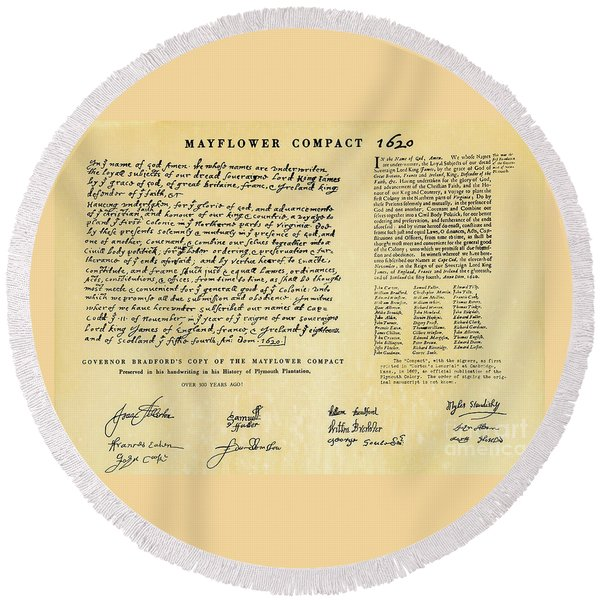 The Mayflower Compact  Round Beach Towel