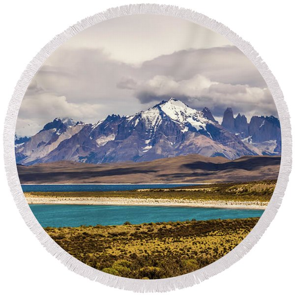 The Mountains Of Torres Del Paine National Park, Chile Round Beach Towel