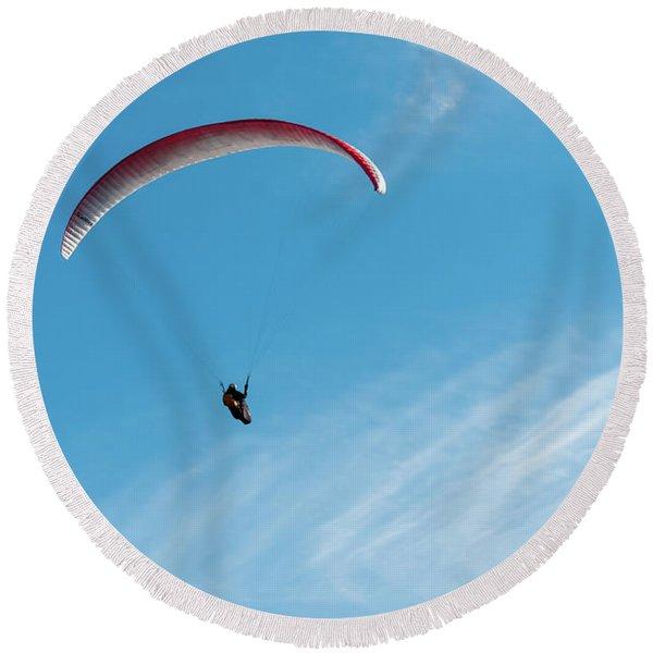 The Paraglider Round Beach Towel