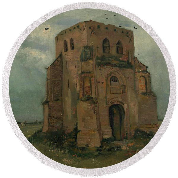 The Peasants Churchyard, The Old Church Tower Round Beach Towel