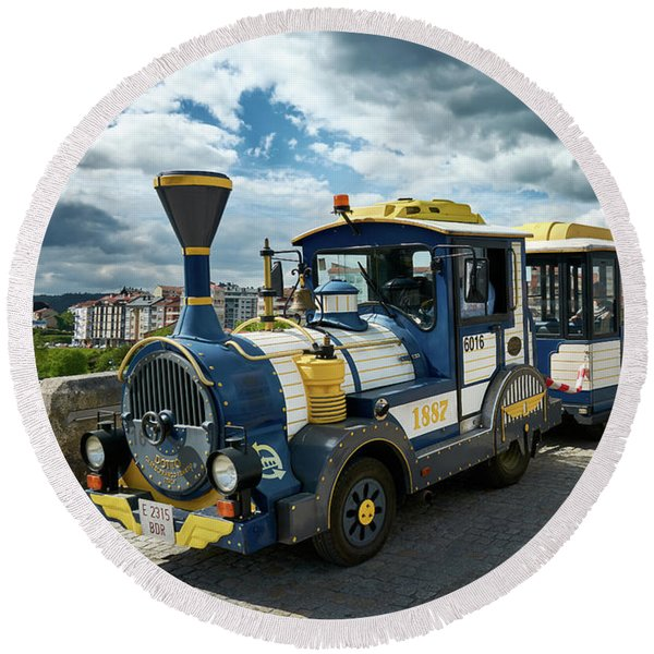 The Touristic Train Of Ourense Round Beach Towel