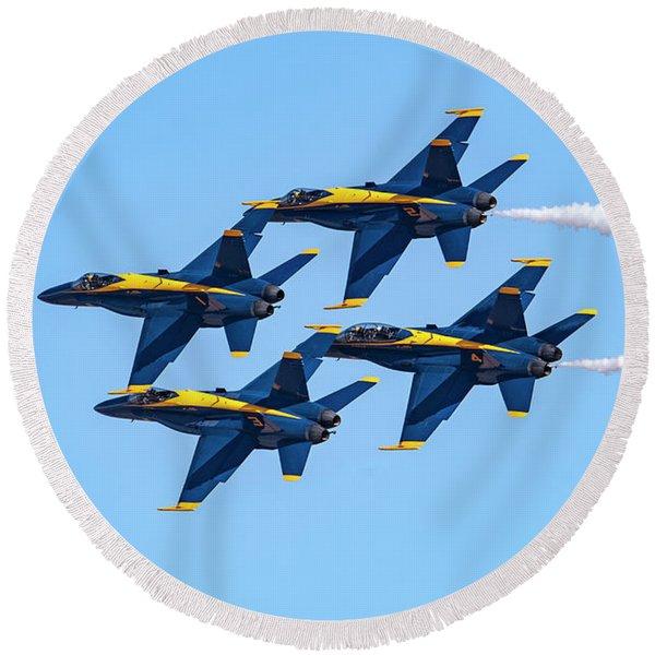 The U.s. Navy Blue Angels Round Beach Towel